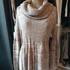 Calvin Klein Cowl Neck Long Sleeve Sweater Dress